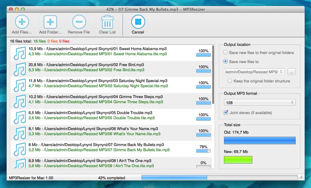 MP3Resizer for Mac OS X Screenshot 2