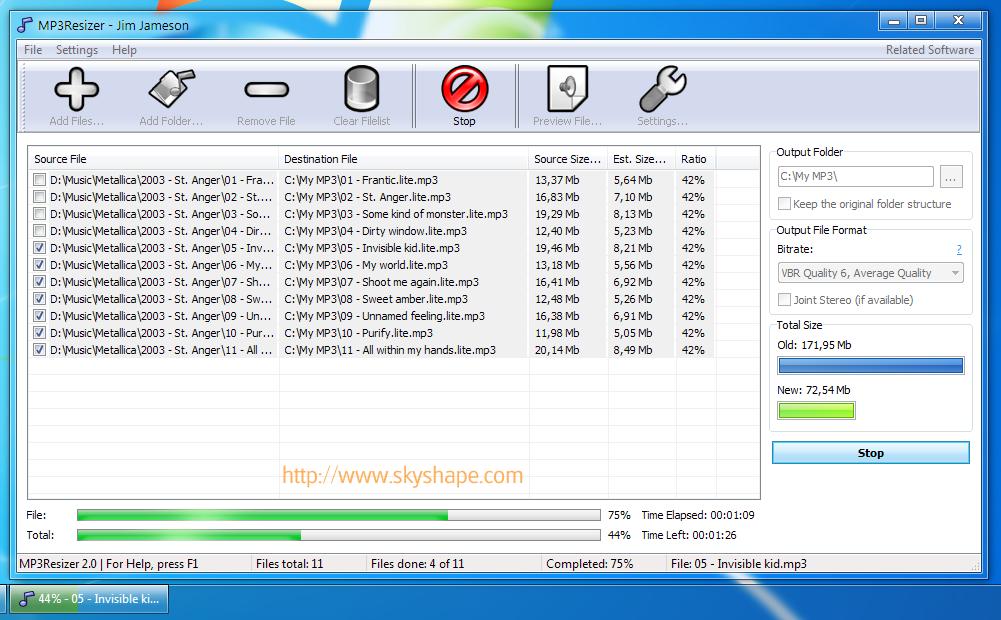 MP3Resizer Portable screenshot