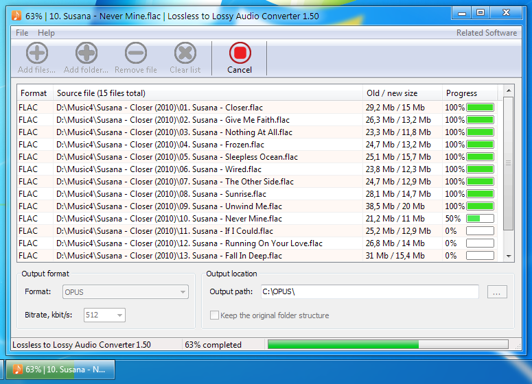 Lossless to Lossy Audio Converter Screenshot 1