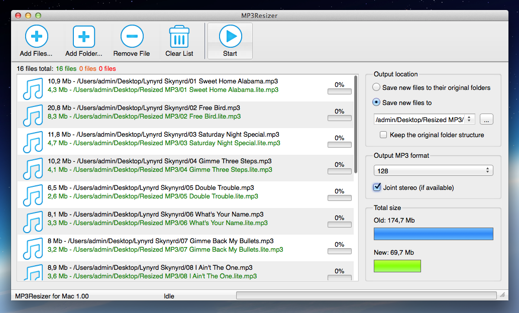 MP3Resizer for Mac OS X Screenshot 1